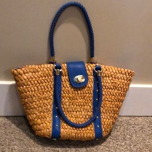 Kate Landry woven straw tote with blue accent